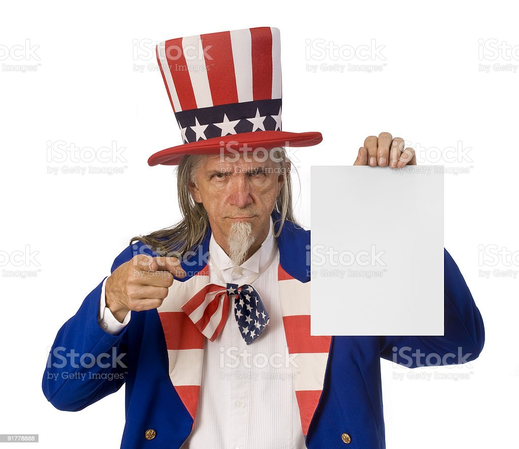 Uncle Sam Holding a Message stock photo