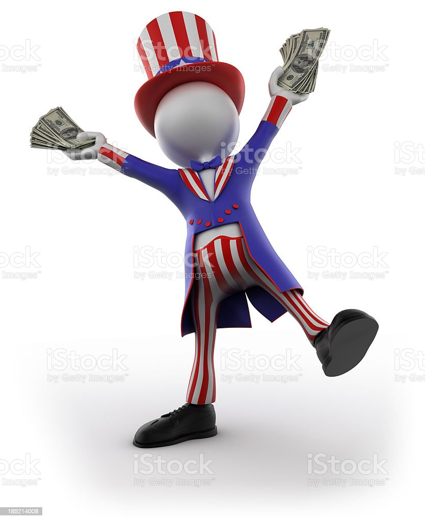 Uncle Sam holding cash, isolated with clipping path royalty-free stock photo