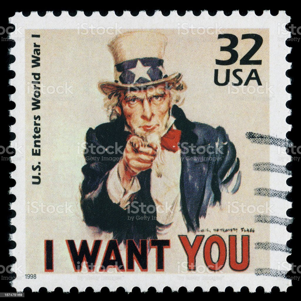 """Uncle Sam, """"I Want You"""" PERFECT Postage Stamp HUGE File stock photo"""