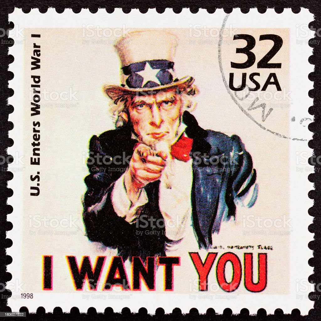 Uncle Sam 'I want you' USA postage stamp recruiting royalty-free stock photo