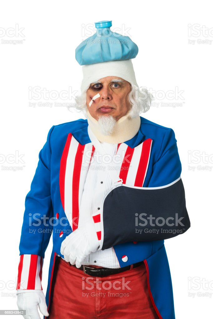 Uncle Sam looking battered after getting beaten up stock photo