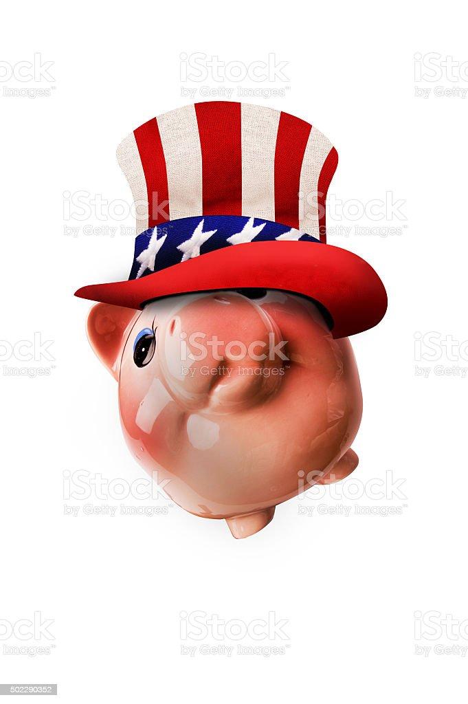 Uncle Sam Piggy Bank. stock photo