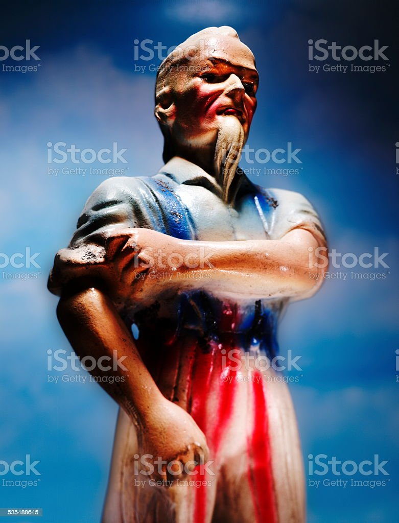 Uncle Sam Rolling up Sleeves stock photo