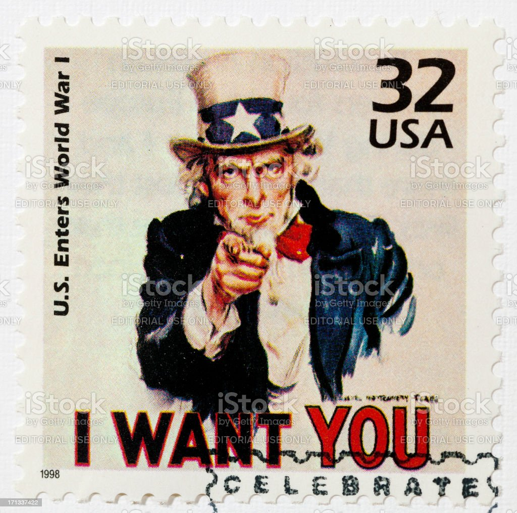 Uncle Sam Stamp stock photo