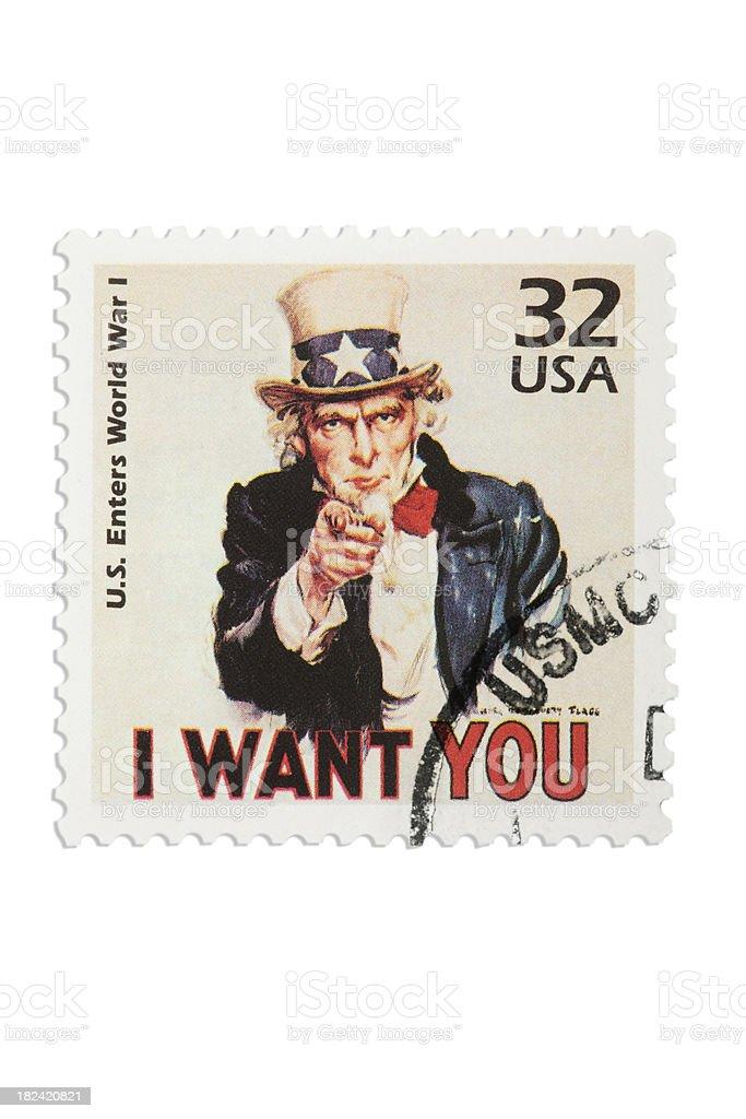 uncle sam stamp with USMC print XXXL stock photo