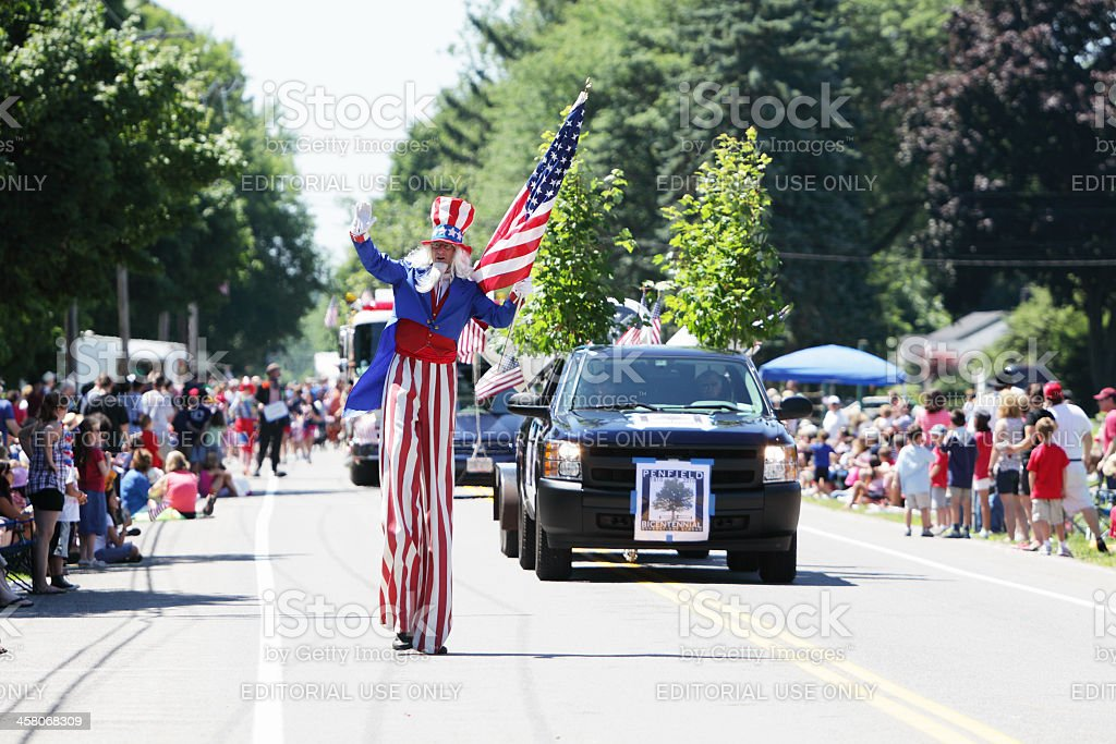 Uncle Sam Tall Man Marching July 4th Independence Day Parade stock photo