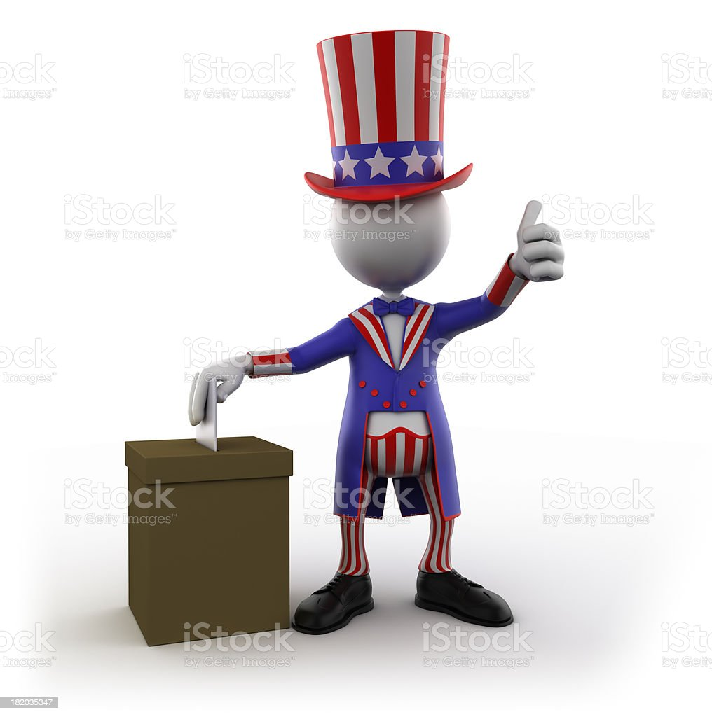 Uncle Sam voting, isolated with clipping path royalty-free stock photo