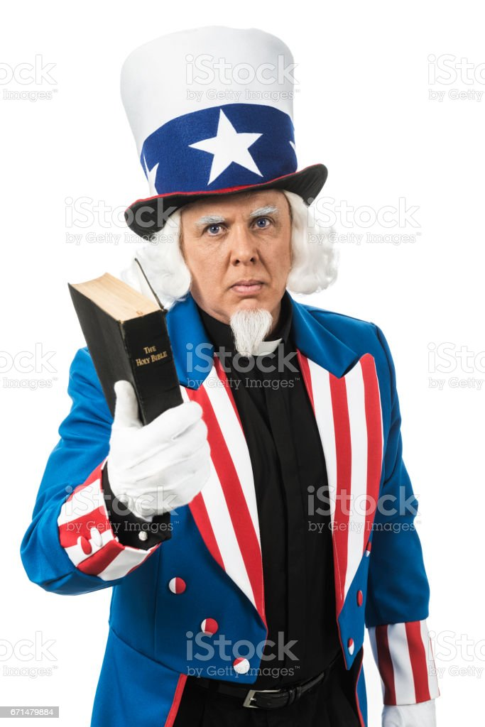 Uncle Sam wearing a clergy shirt - Concept between church and state stock photo