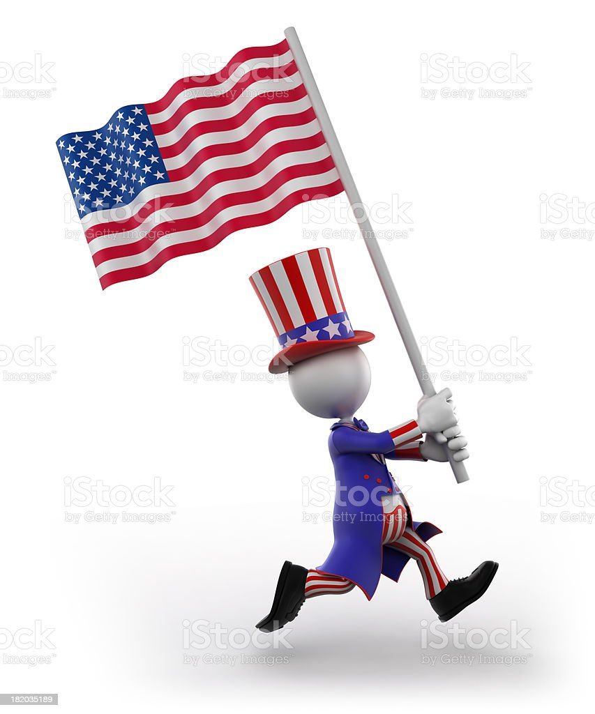 Uncle Sam with American flag, isolated /clipping path royalty-free stock photo