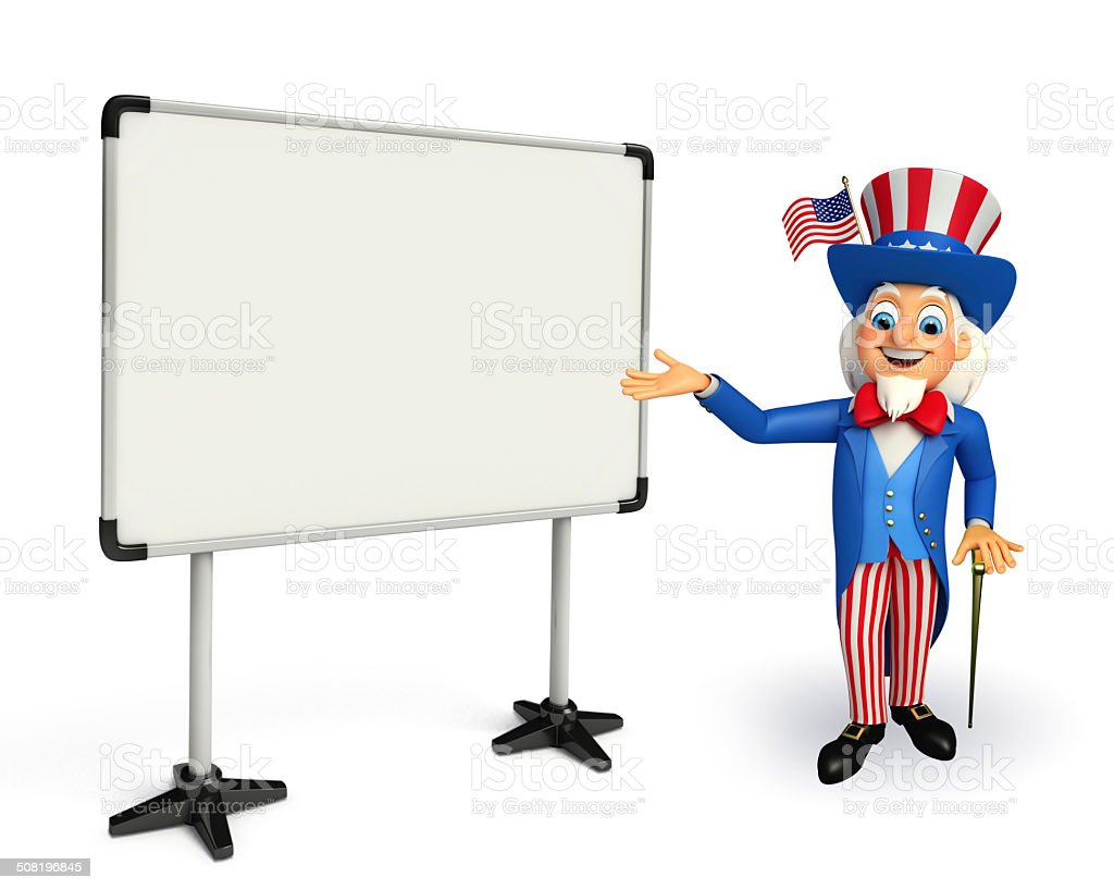 Uncle Sam with display board stock photo