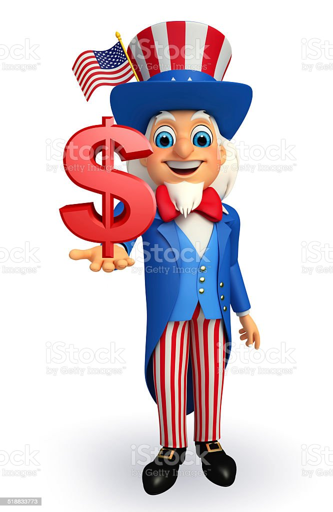 Uncle Sam with dollar sign stock photo