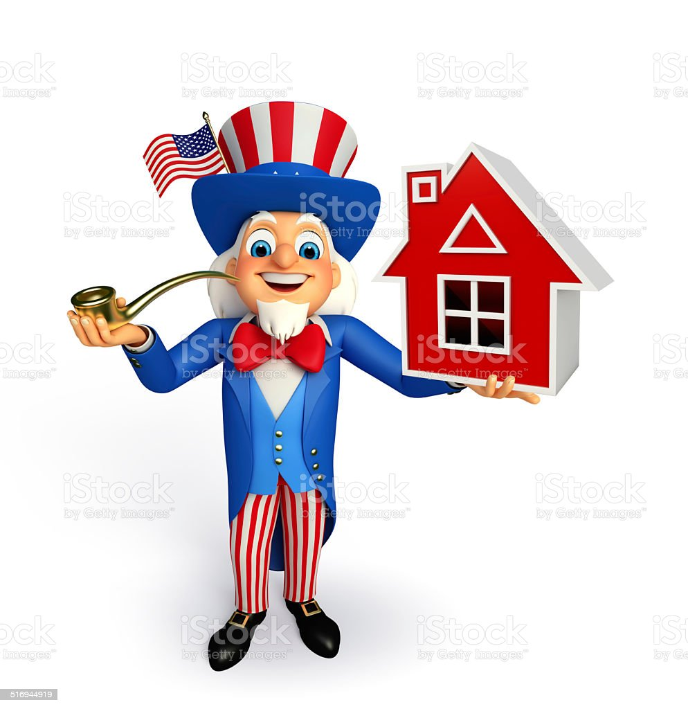 Uncle Sam with home sign stock photo