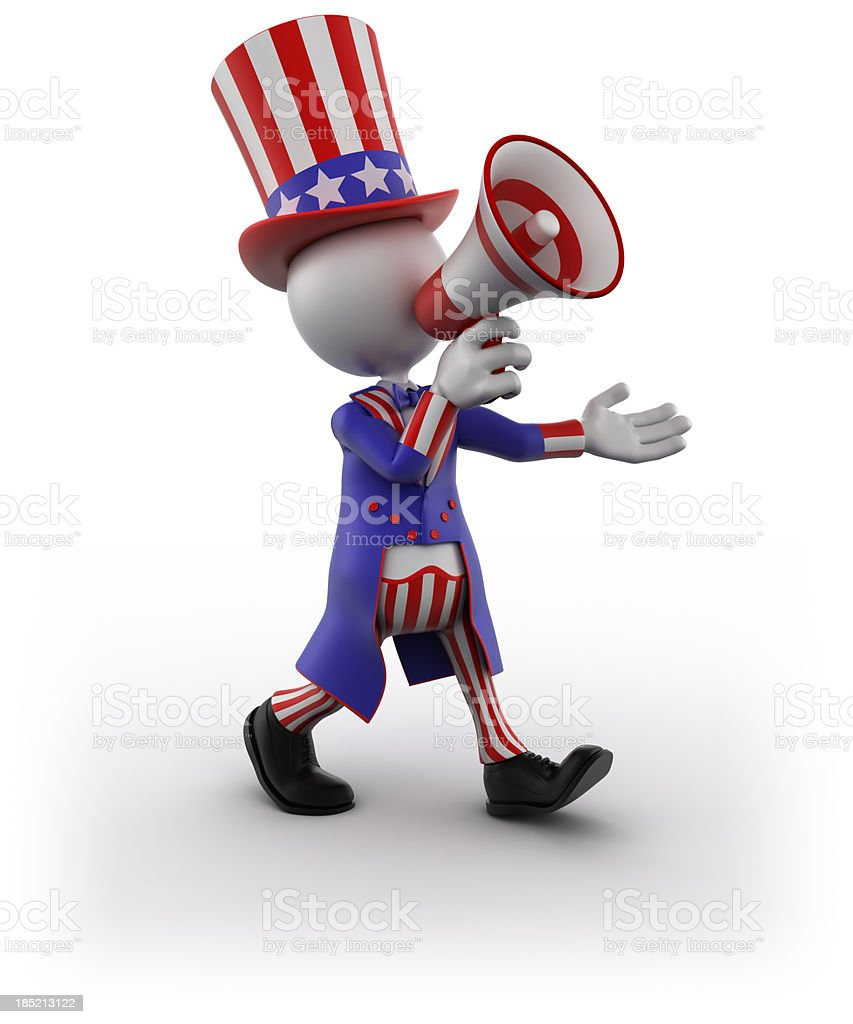 Uncle Sam with megaphone, isolated /clipping path royalty-free stock photo