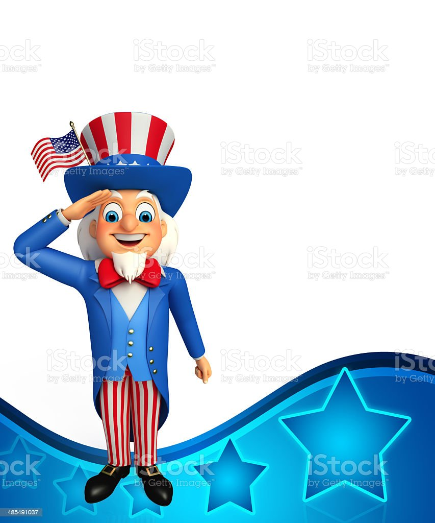 Uncle Sam with salute royalty-free stock photo