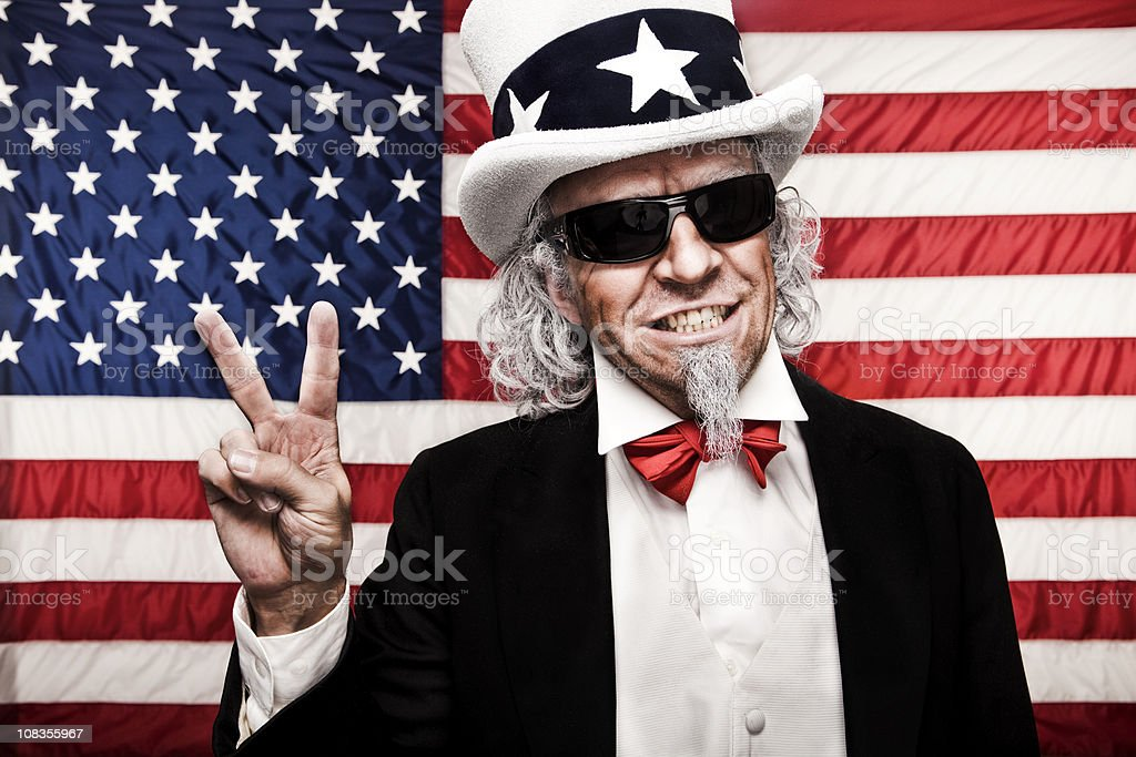 Uncle Sam with Sunglasses and Peace Sign stock photo