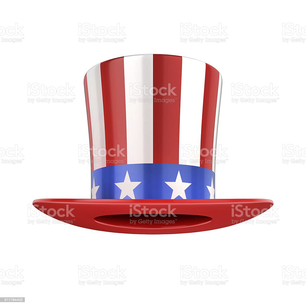 Uncle Sam's american hat isolated on white stock photo