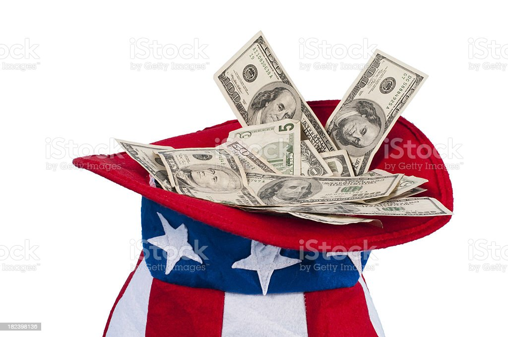 Uncle Sam's Money Hat stock photo
