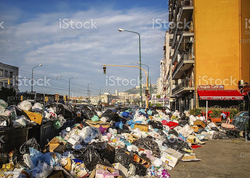 Uncollected Trash - Naples, Italy royalty-free stock photo