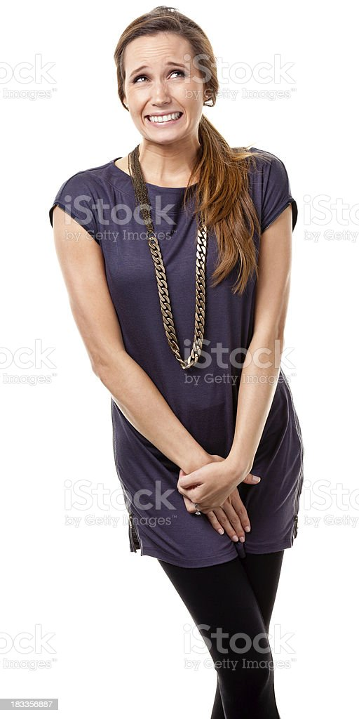 Uncomfortable Young Woman stock photo