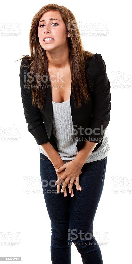 Uncomfortable Young Woman stock photo