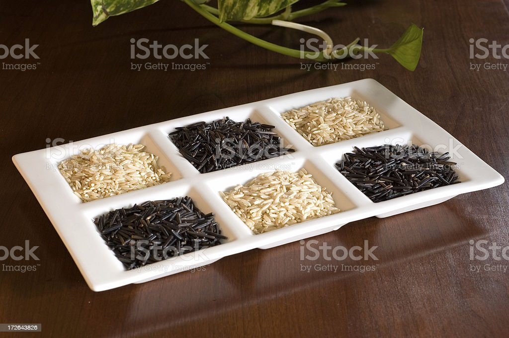 Uncooked brown and wild rice. royalty-free stock photo