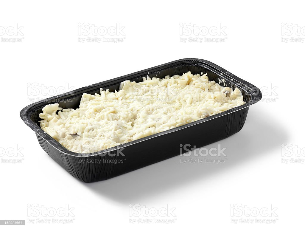 UnCooked Chicken Lasagna in Black Tray royalty-free stock photo