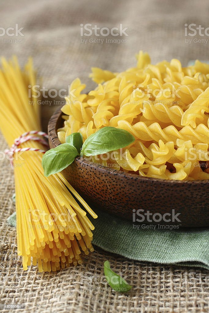 Uncooked gluten free pasta royalty-free stock photo