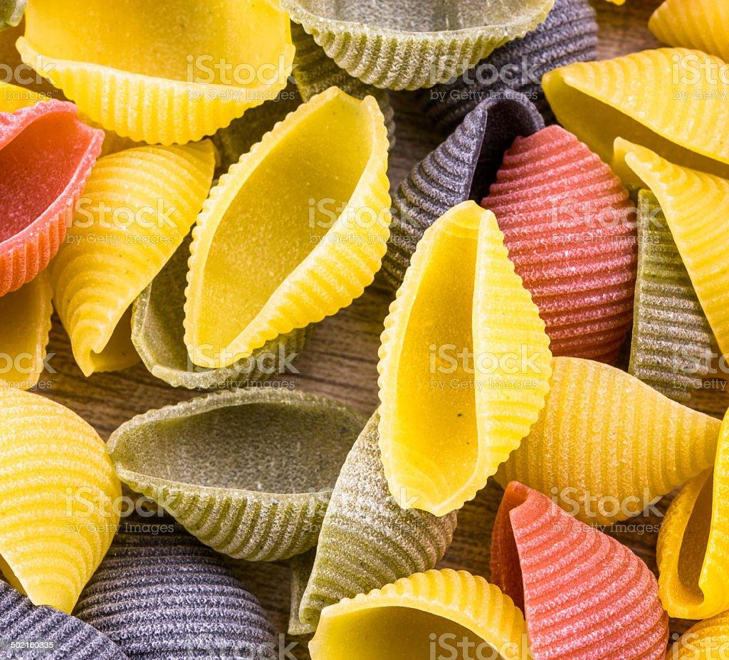 Uncooked Italian conchiglie pasta royalty-free stock photo