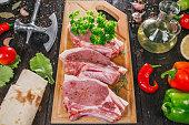 Uncooked pork steaks
