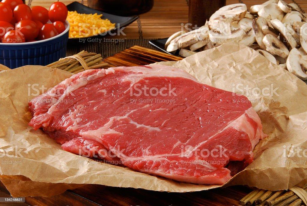 Uncooked round steak stock photo