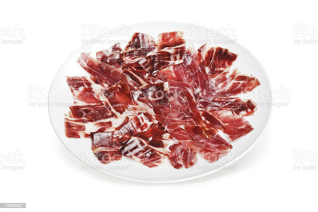Uncooked slices of Iberico Ham on a round white plate stock photo