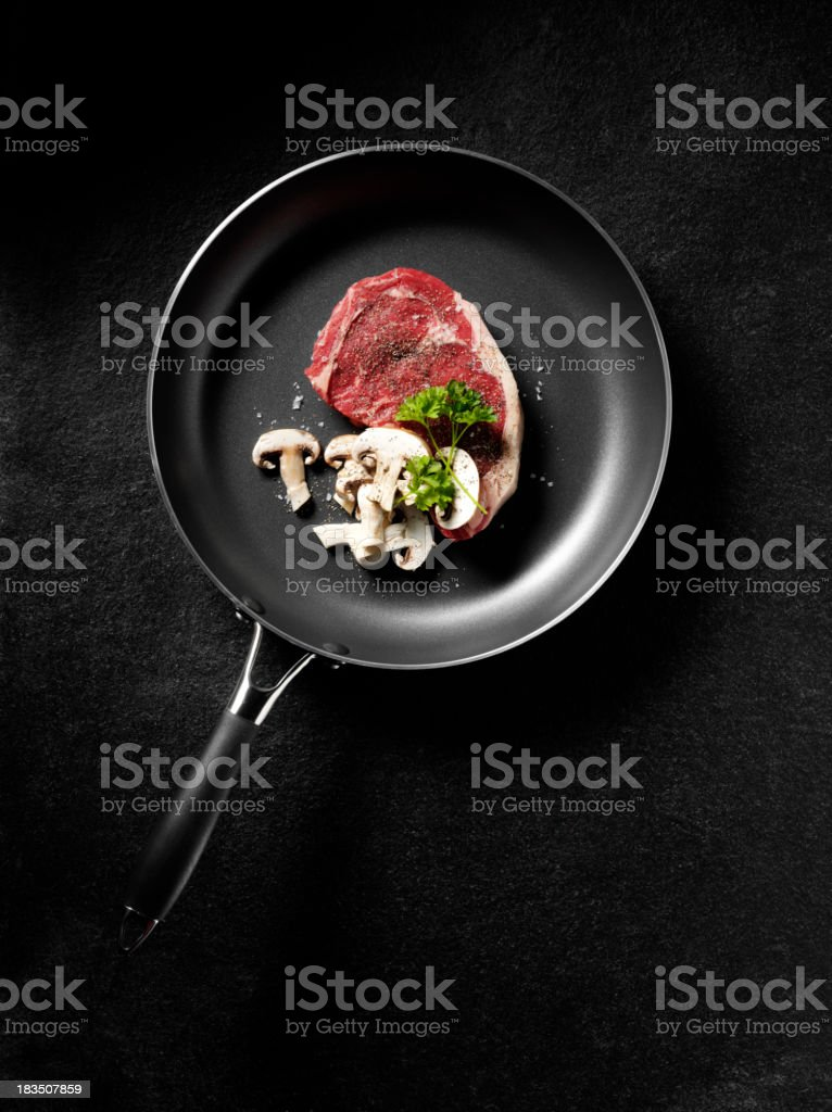 Uncooked Steak and Mushrooms royalty-free stock photo