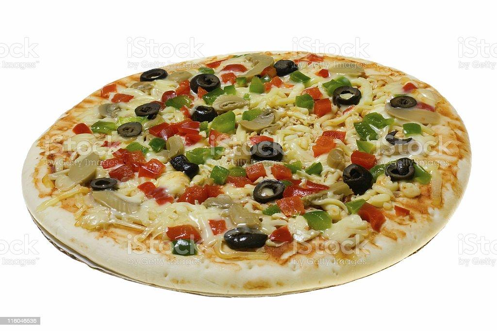Uncooked Vegetarian pizza stock photo