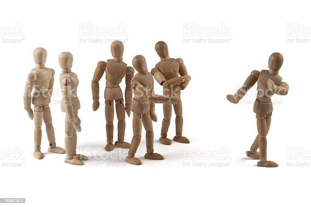 uncooperative wooden mannequin  in team discussion stock photo
