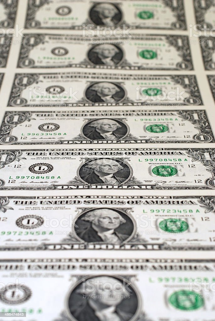 Uncut Sheet of One Dollar Bills stock photo