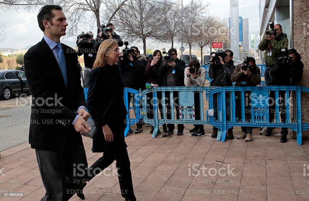 Undargarin and Cristina de Borbon arrives at Noos case judgment. stock photo