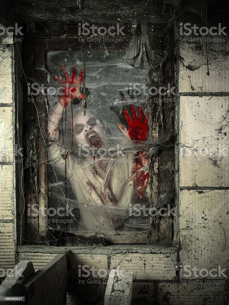 Undead at the window stock photo