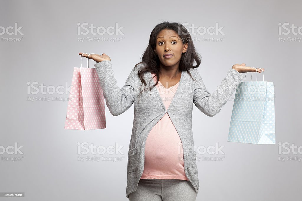 Undecided pregnant woman. royalty-free stock photo