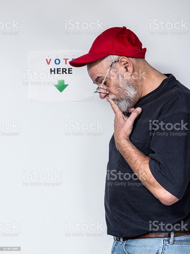 Undecided Senior Adult Man Redneck Election Voter stock photo