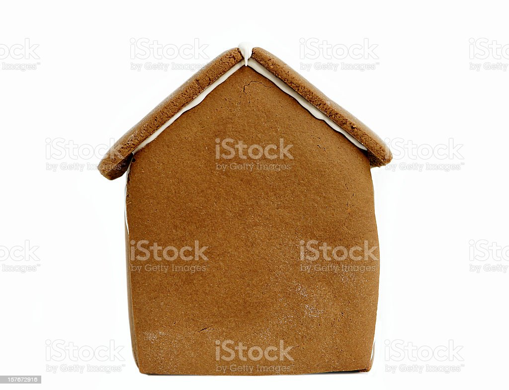 Undecorated Gingerbread House Isolated on White stock photo