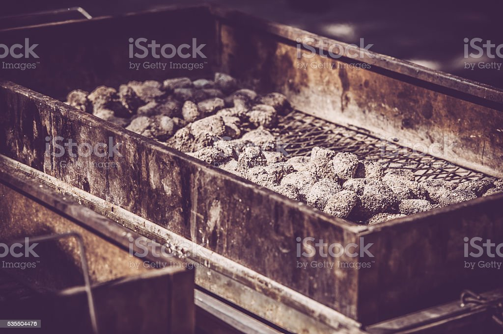 under a baking lid stock photo