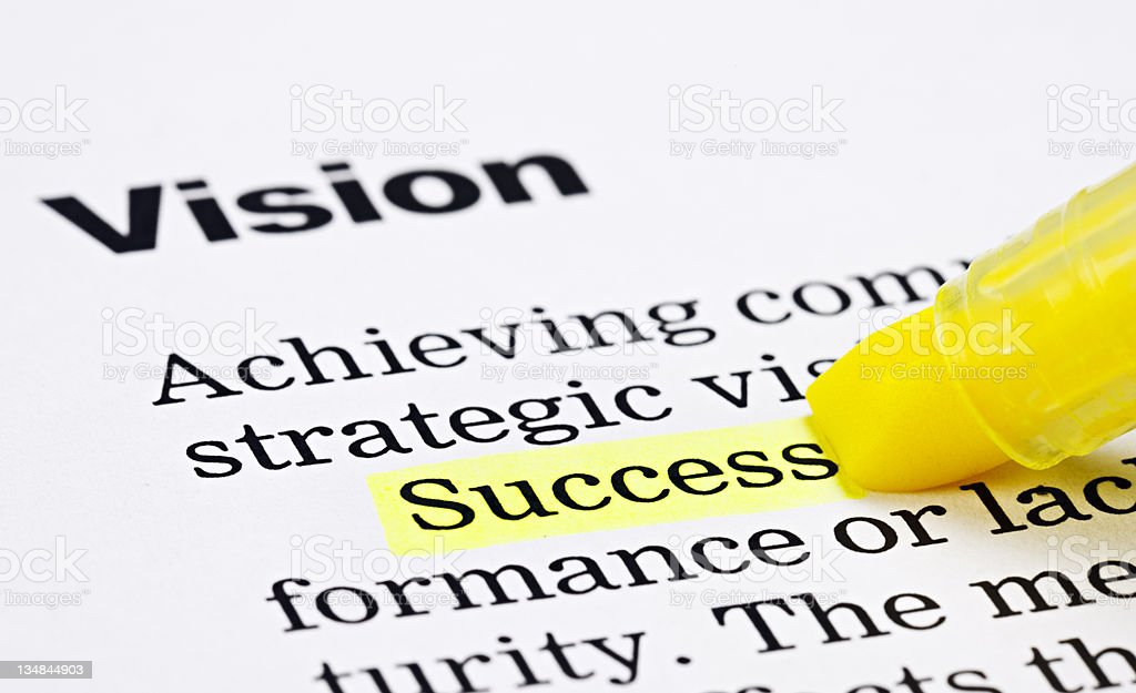 Under a heading 'Vision', the word 'Success' is highlighted royalty-free stock photo