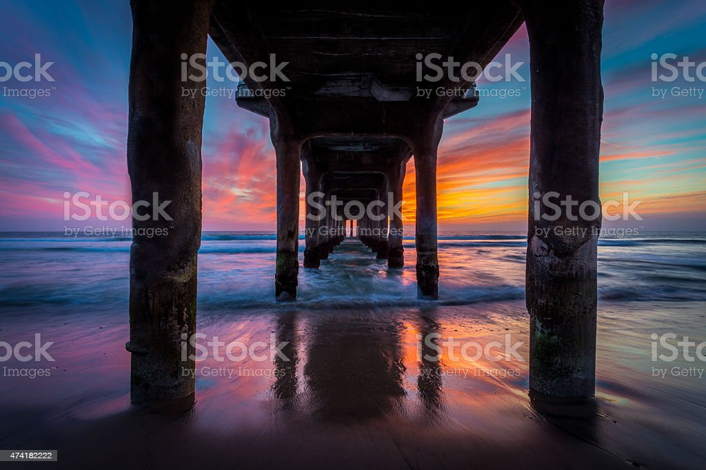 Under a Pier on the Ocean at Sunset stock photo