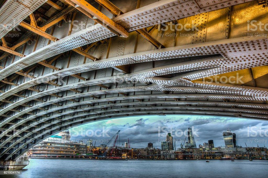 Under Blackfrairs Bridge stock photo
