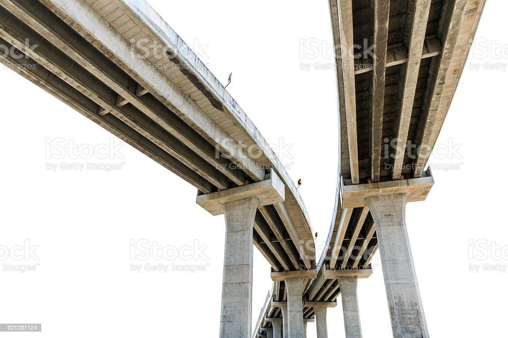 Under bridge expressway isolated on white stock photo