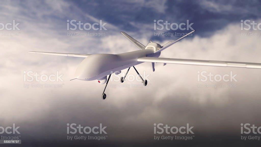 UAV under clouds stock photo
