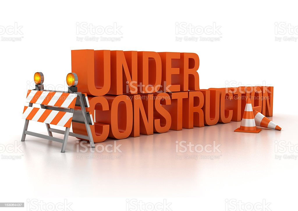 under construction 3d concept stock photo