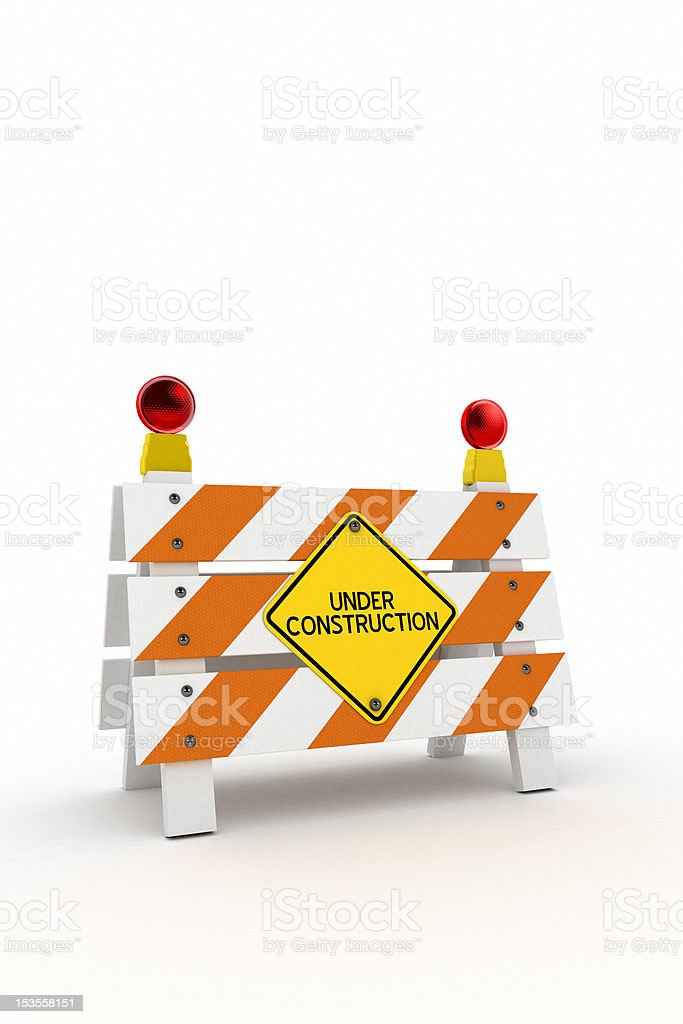 Under construction barrier stock photo