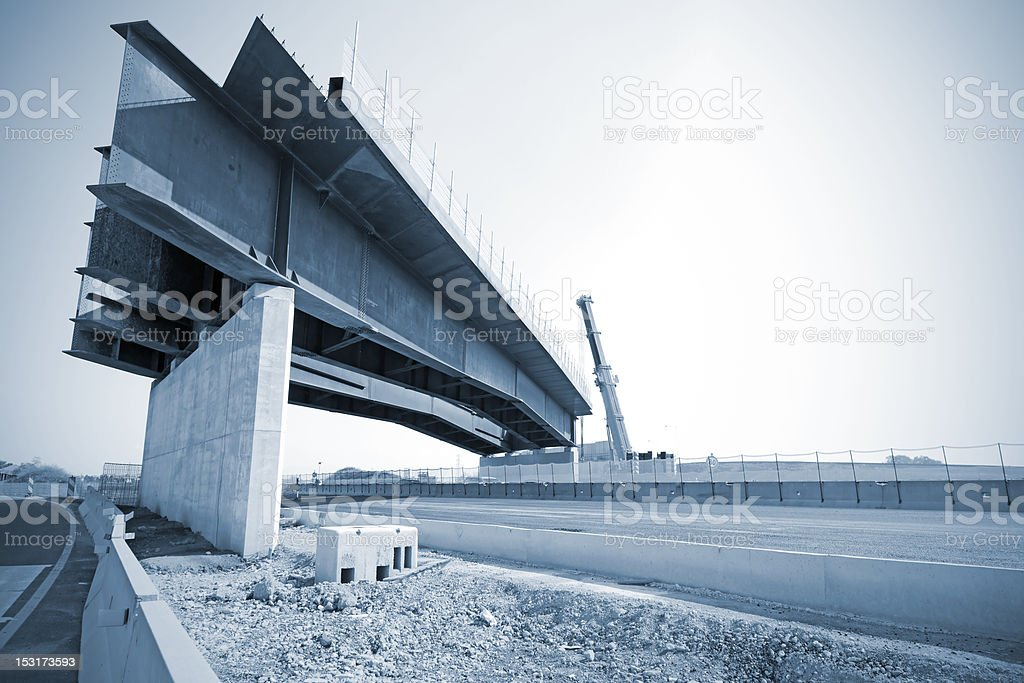 under construction bridge on highway royalty-free stock photo