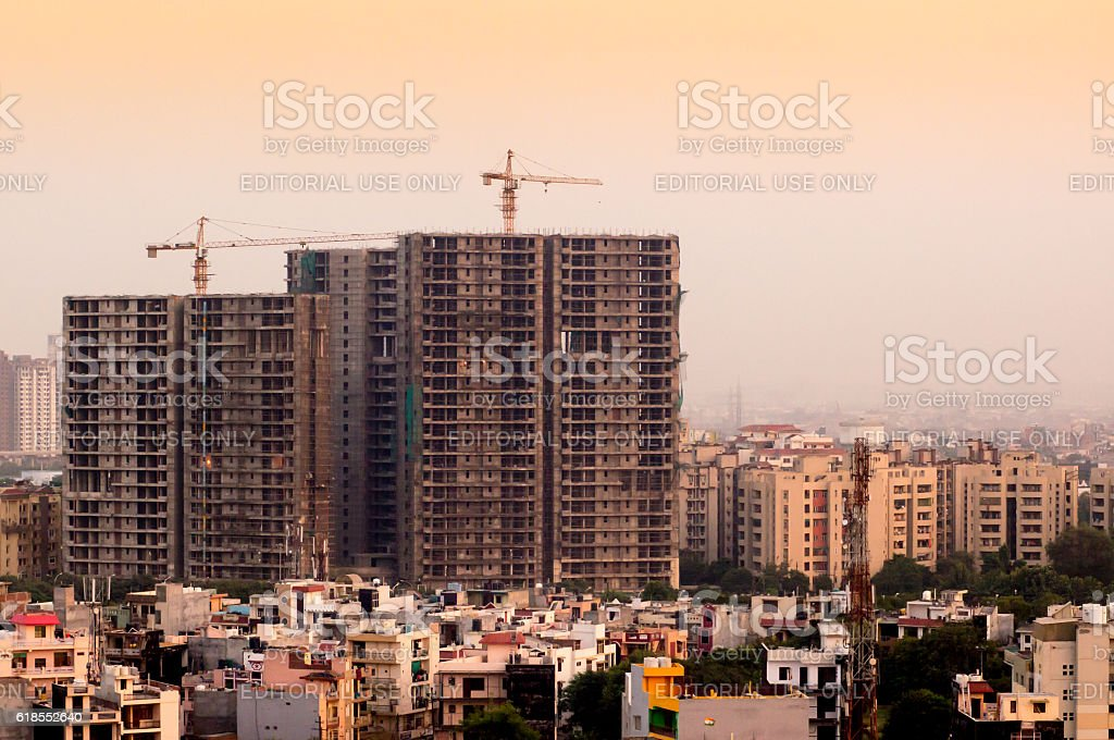 Under construction buildings in Delhi stock photo